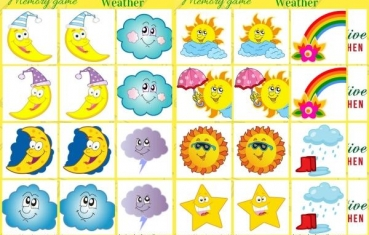 Weather - Memory game free printable
