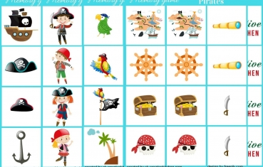 Pirates - Memory game free printable