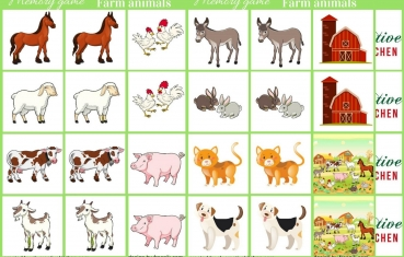 Farm animals - Memory game free printable