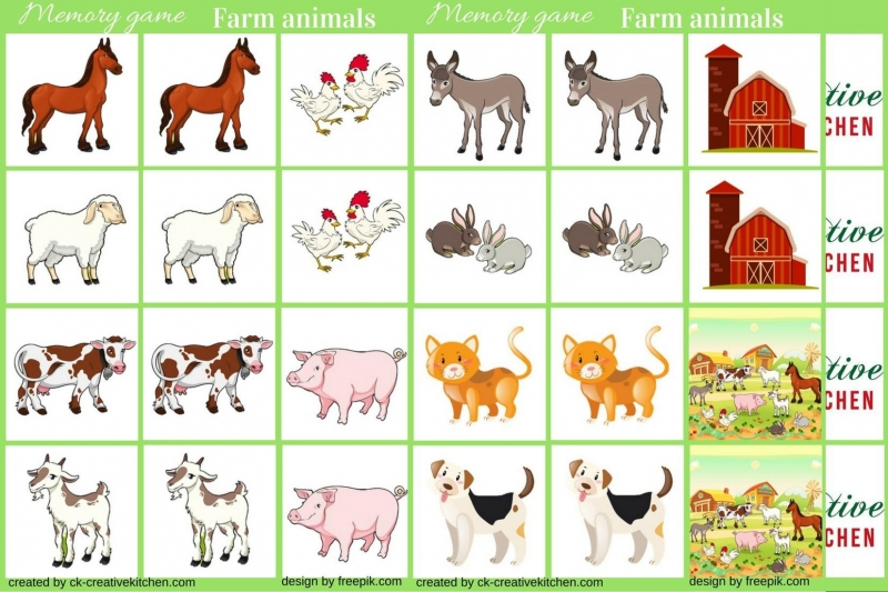 photo relating to Printable Memory Games called Farm pets - Memory match free of charge printable - Resourceful Kitchen area
