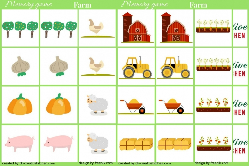 Farm - Memory game free printable