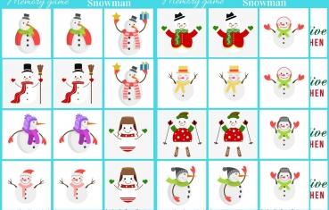 Snowman - Memory game free printable