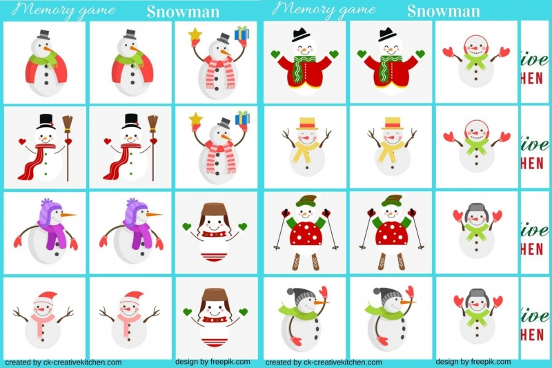 photo about Game Pieces Printable identified as Snowman - Memory sport free of charge printable - Resourceful Kitchen area