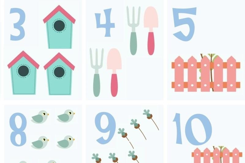 Numbers - Flash card and puzzle free printables