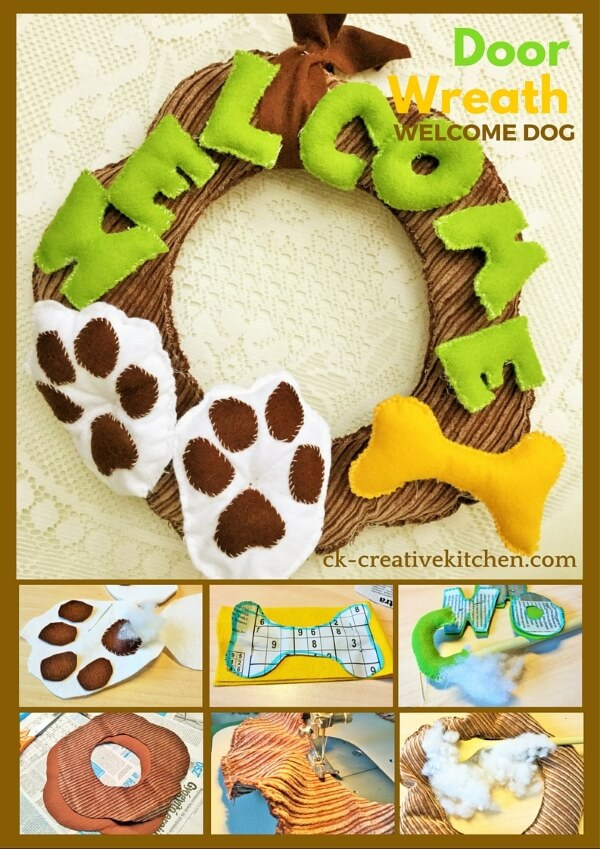 textile door wreath welcome dog