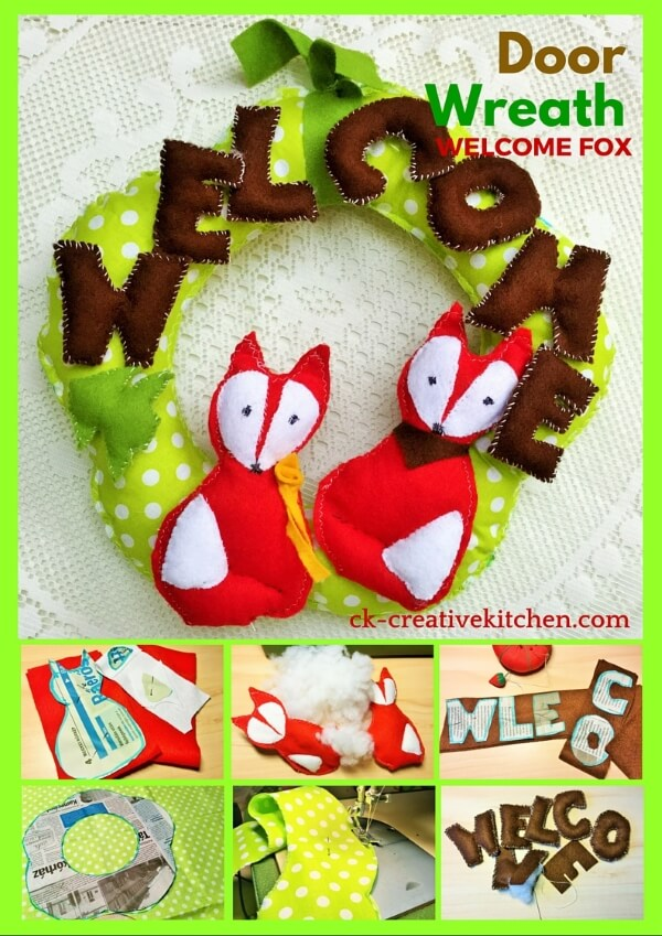 textile door wreath welcome fox