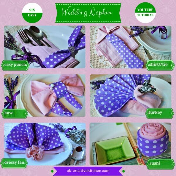 wedding,napkin folding,tutorial