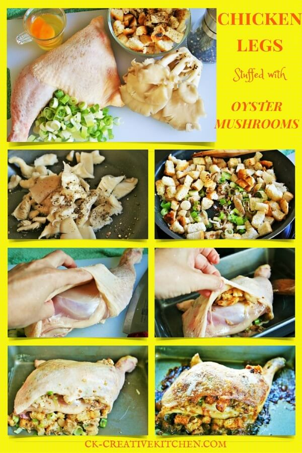 How to prepare chicken legs thighs stuffed with oyster mushroom