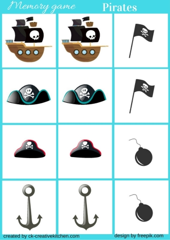 picture relating to Pirates Printable Schedule called Pirates - Memory sport free of charge printable - Imaginative Kitchen area