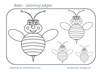 bees counting coloring pages