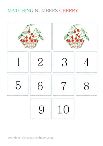 numbers matching card free printable cherry