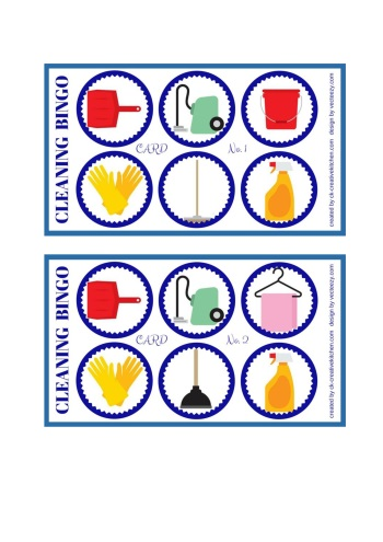 cleaning bingo card free printables