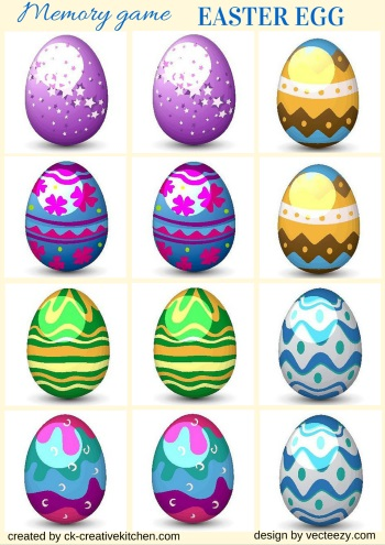 easter egg matching memory game free printables