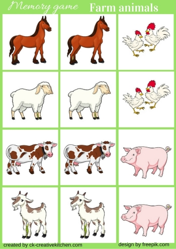 image about Animal Matching Game Printable named Farm pets - Memory sport cost-free printable - Inventive Kitchen area