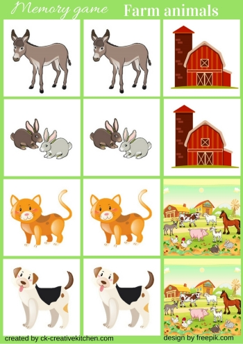 farm animal, memory game, free printable