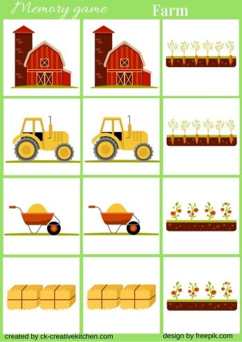 Farm Memory game free printable