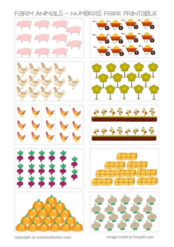 farm animals numbers free printable