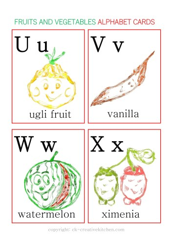 fruits and vegetables alphabet cards free printable