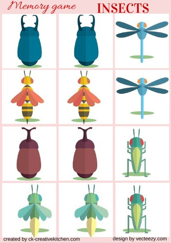 insect matching memory game free printables