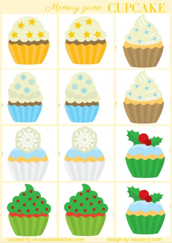 christmas cupcake matching memory game free printable