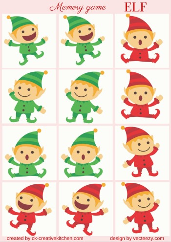christmas elf matching memory game free printable