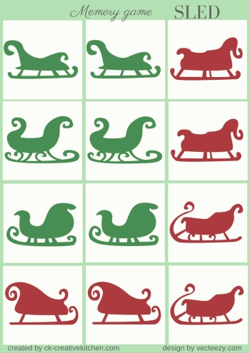 christmas sled matching memory game free printable