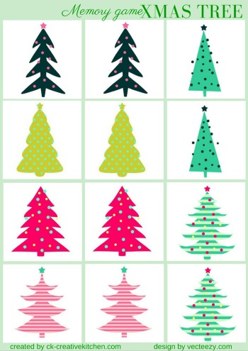 christmas tree matching memory game free printable