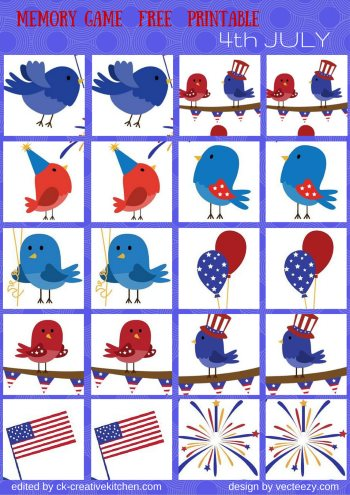 holiday 4th july matching memory game free printable