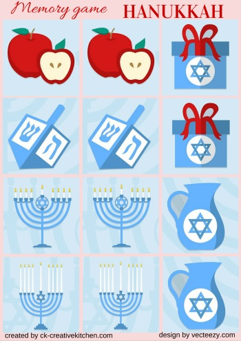 matching memory game free printable hanukkah