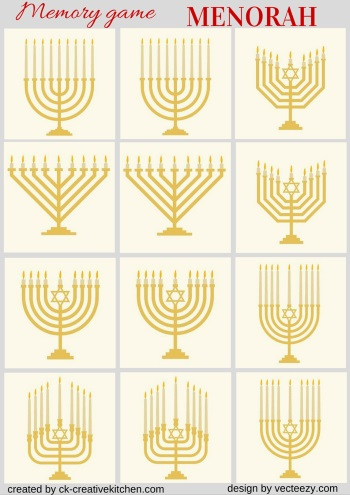 matching memory game free printable menorah