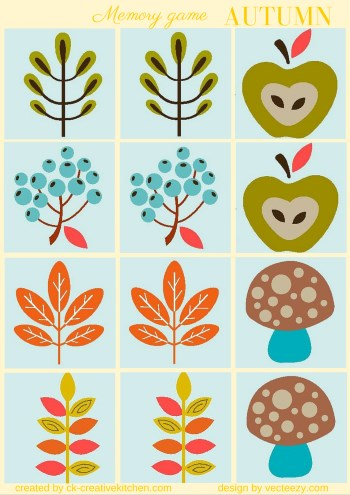 matching memory game free printable autumn fall