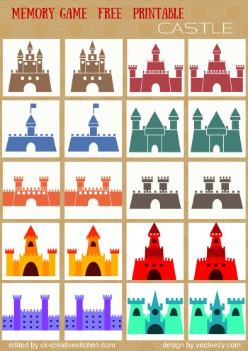 castle matching memory game free printable