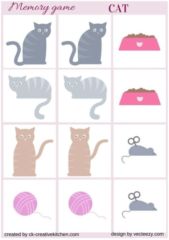 matching memory game free printable cat