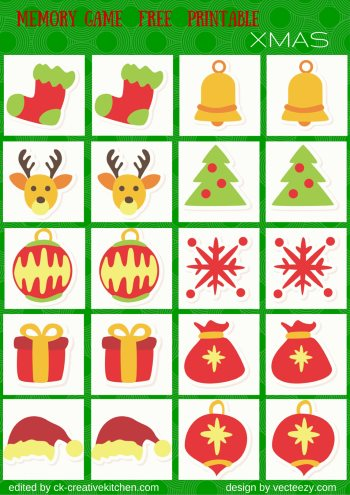 christmas matching memory game free printable