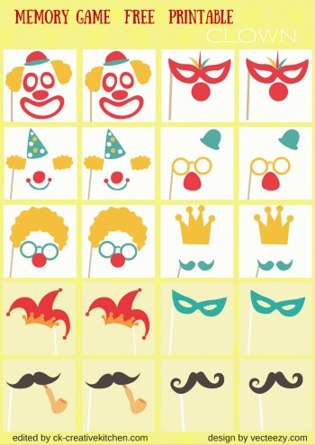clown matching memory game free printable