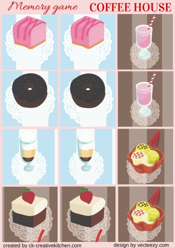 matching memory game free printable coffee house cake
