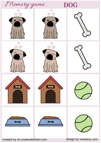 matching memory game free printable dog