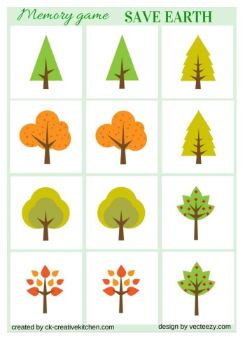 save the earth, memory game, free printable, tree, matching game