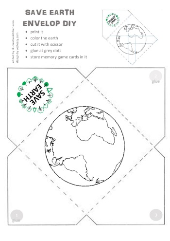 save the earth, memory game, matching game, free printable, envelop