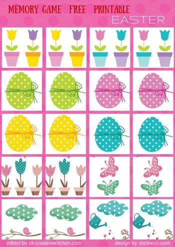 easter matching memory game free printable