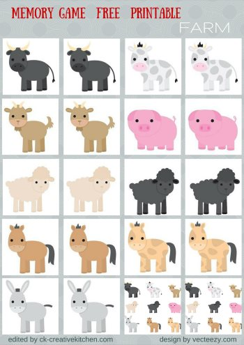 Animals - Memory game free printables - Creative Kitchen