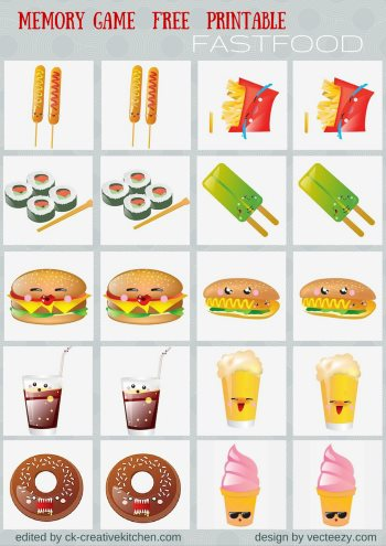 fast food matching memory game free printable