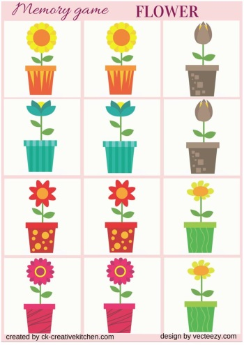 picture relating to Printable Memory Games for Seniors titled Flower - Memory activity free of charge printables - Resourceful Kitchen area