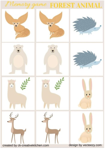 matching memory game free printable forest animal
