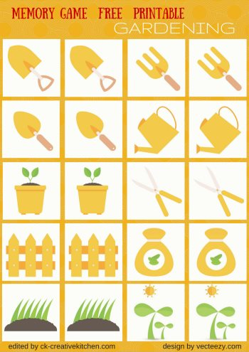 garden matching memory game free printable