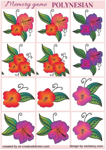 matching memory game free printable polynesian flower