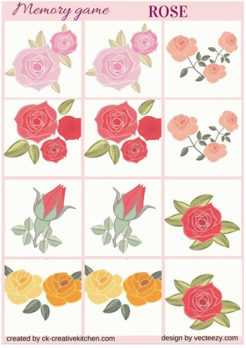 matching memory game free printable rose