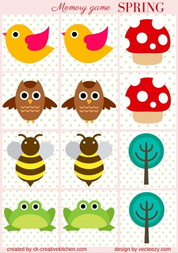 matching memory game free printable spring