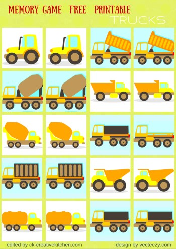 trucks matching memory game free printable