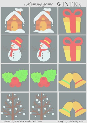 matching memory game free printable winter